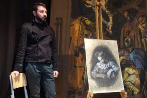 3 - Particolare della ''Natività con i santi Lorenzo e Francesco'' realizzato in carboncino da Giuseppe Siracusa-min